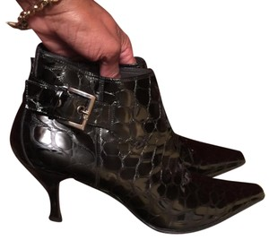 Donald J. Pliner Black Patent Leather Croco Boots