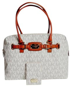Michael Kors Jet Set Weekender Signature Passport Genuine Leather Trim Vanilla Travel Bag