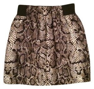 INC International Concepts Animal Print Silk Mini Skirt Black and gold snakeskin pattern