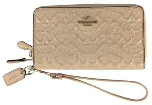 Coach Embossed Patent Leather Double Zip Phone Wallet