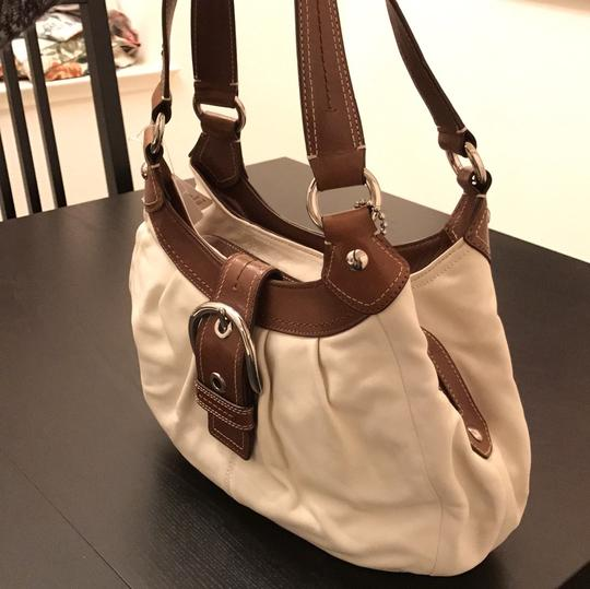 Coach Satchel in White and Brown Image 1
