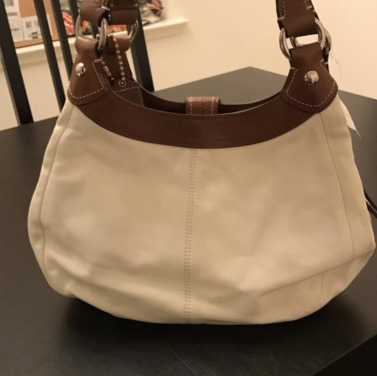 Coach Satchel in White and Brown Image 3