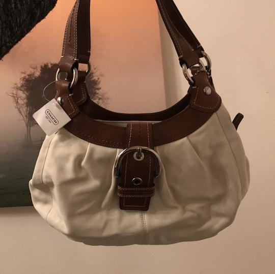 Coach Satchel in White and Brown Image 4