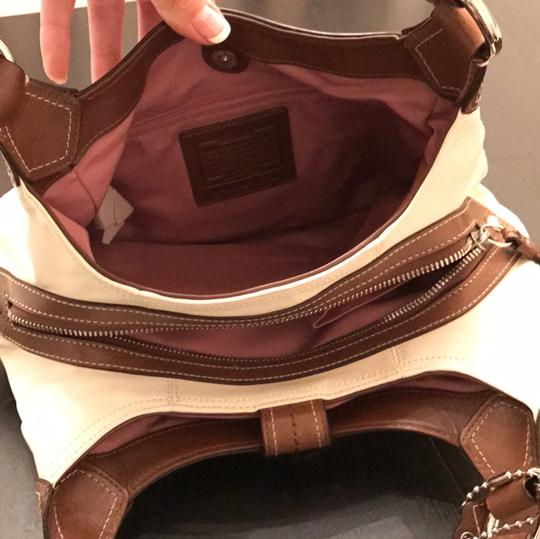 Coach Satchel in White and Brown Image 6