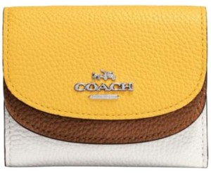 Coach Coach Dahlia Medium Doubleflap Canary Yellow And Cream Wallet