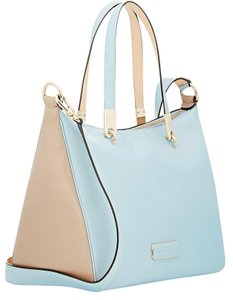Marc by Marc Jacobs Ninja Colorblock Leather Tote in Powder Blue / Taupe.