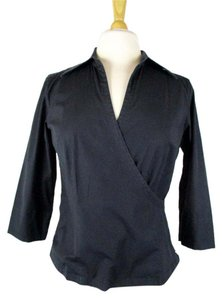 Ann Taylor Career Work Stretch Faux Wrap Top Black