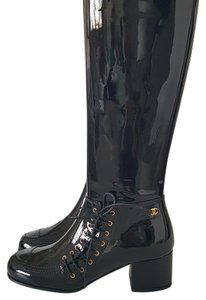 Chanel Patent Leather Knee Leather Black Boots