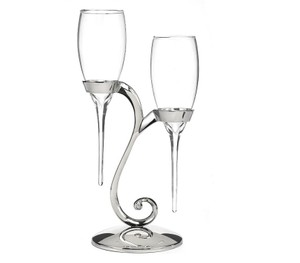 Raindrop Toasting Flutes With Swirl Stand, Wedding Toasting Flutes
