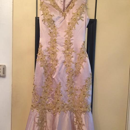 Pink /Gold Satin Formal Bridesmaid/Mob Dress Size 4 (S)