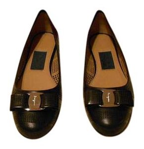 Salvatore Ferragamo Circular Design Perforated Leather Made In Italy Nero Flats