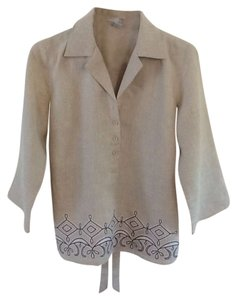 Blouse Tweeds Co. Linen Tunic Embroidered Stylish Top Beige