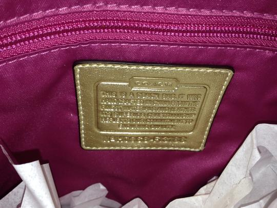 Coach Hardware Leather Hangtag Tote in Multicolor and Gold
