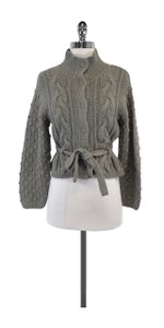 Nicole Miller Grey Cable Knit Cardigan