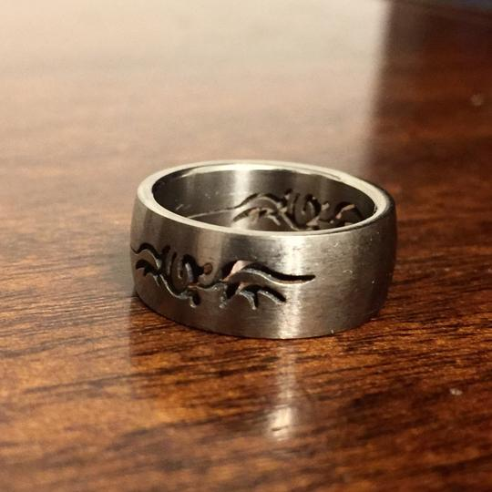 Other Solid Titanium Tribal Cut Out Band Ring Matte Finish