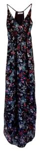 Black with multicolored floral design Maxi Dress by Lush