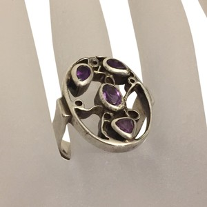 Other Sterling Silver 925 Native American Hammered Bezel Amethyst Ring