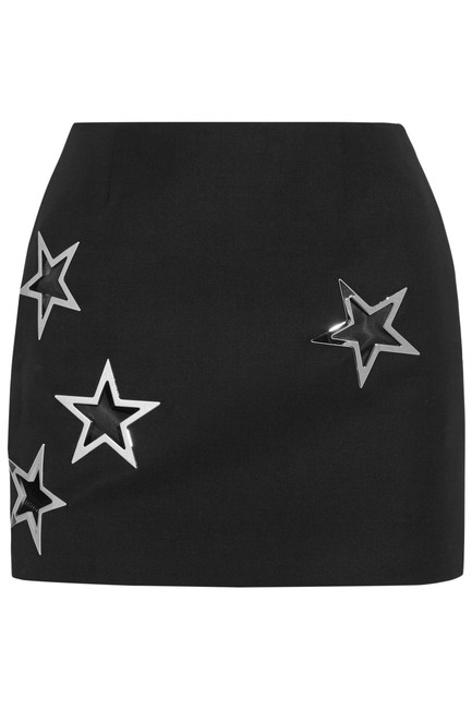 Anthony Vaccarello Pencil Virgin Wool Star Cut-outs Silver Star Eyelets Mini Skirt BLACK