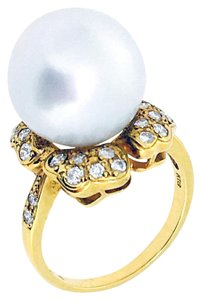 Other 18k Yellow Gold Pearl Diamonds Ring