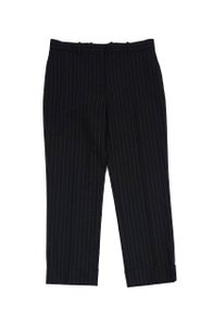 Loro Piana Black Grey Pinstripe Wool Trouser Pants