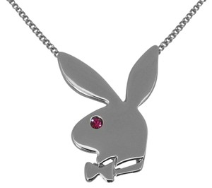 Playboy Playboy Necklace Bunny Pendant Pink Swarovski Crystal Platinum Plated