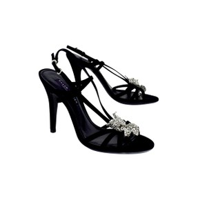 Ralph Lauren Black Suede Crystal Heels Sandals