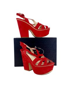 Prada Red Suede Platform Heels Sandals