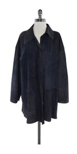 Fendi Dark Navy Suede Laser Cut Jacket