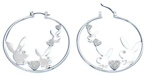 Playboy Playboy Earrings Bunny Hearts Swarovski Crystals Hoops Silver Plated