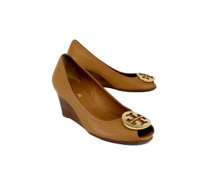 Tory Burch Tan Leather Peep Toe Wedges