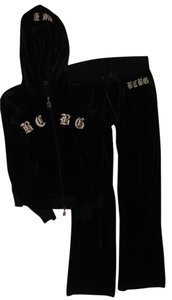 BCBGMAXAZRIA BCBG Black Velour Crown Tracksuit Hoodie Pants 2-pc