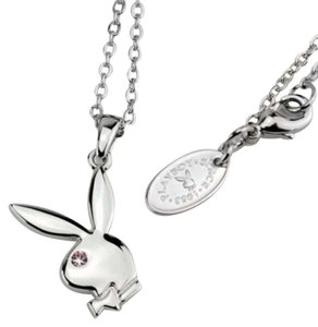 Playboy Playboy Necklace Bunny Pendant Charm Platinum Plated Crystal Gift Box