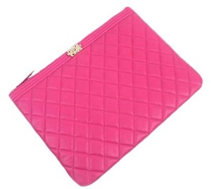 Chanel Boy Lambskin Pouch Pink Clutch
