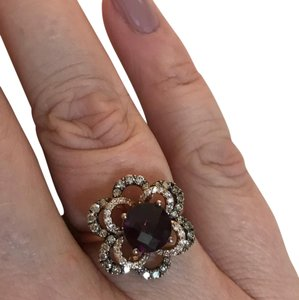 LeVian LeVian Rhodolite & Diamond Flower Rose Gold Ring