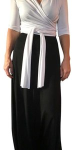 Black/white Maxi Dress by White and black wrap tie dress