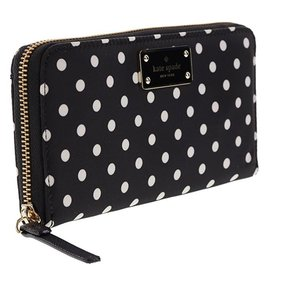 Kate Spade Black Avenue Neda Diamond Dot Large Ziparound Wallet