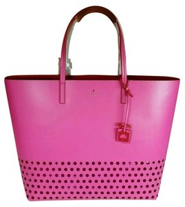 Kate Spade Ivy Drive Perf Len Tote in Bougainvillea Pink