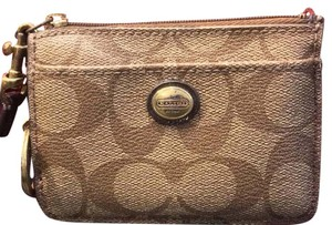 Coach Coach Monogram Browns Id, Credit Cards And Change Purse Key Ring Wristlet Wallet.