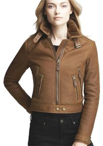 Burberry Brit Shearling Bomber brown Leather Jacket
