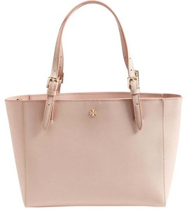 Tory Burch Pink Saffiano Buckle Tote Shoulder Bag
