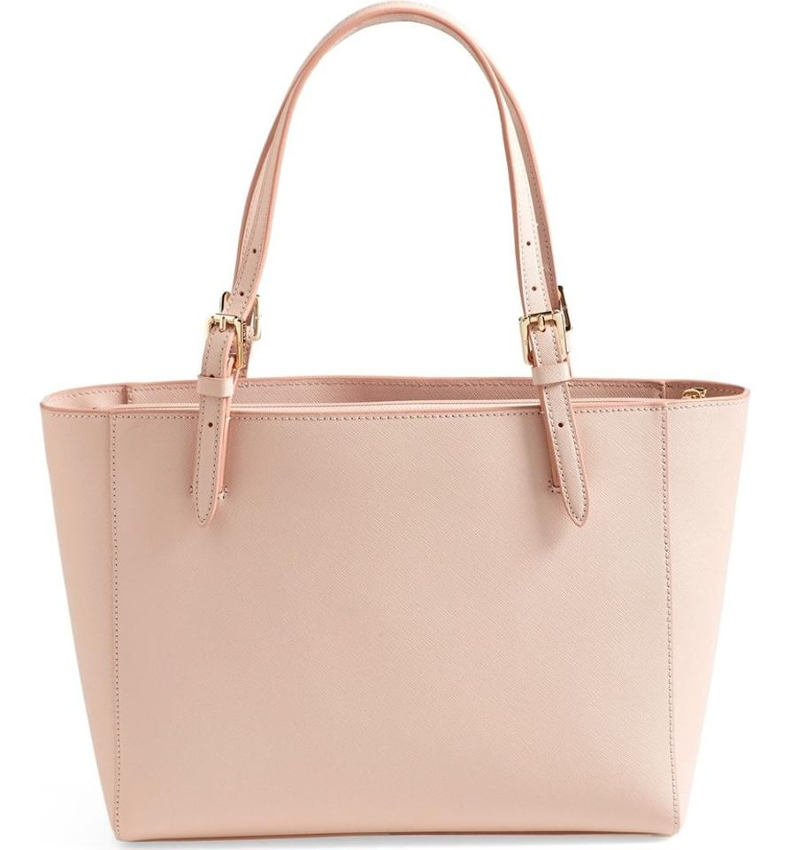 49439a77314c Tory Burch York Small Buckle Tote Saffiano Light Oak Pink Leather Shoulder  Bag