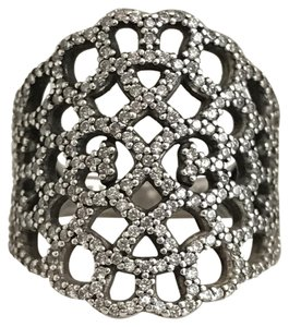 PANDORA Pandora Retired Shimmering Lace Clear CZ Ring Stackable in Pandora Box