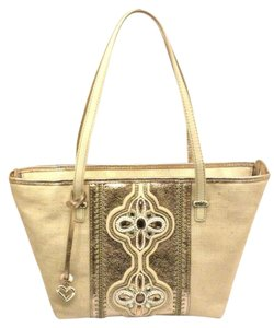 Brighton Kenza H5343b Gold Leather Beaded Kenza H5343b Canvas Leather Tote in Gold, white