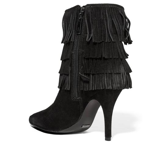 SCHUTZ Leather Fringe Hem Suede Black Boots Image 2