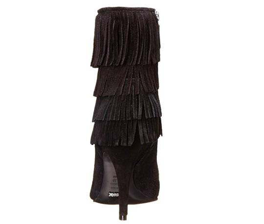 SCHUTZ Leather Fringe Hem Suede Black Boots Image 3