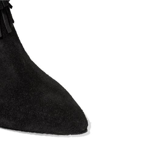 SCHUTZ Leather Fringe Hem Suede Black Boots Image 4
