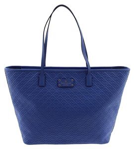 Kate Spade Leather Embossed Tote in Island Deep