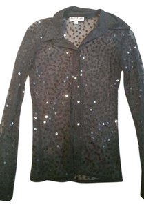 bebe Sequin Button Shirt Top black