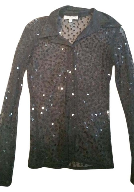 Preload https://img-static.tradesy.com/item/20123556/bebe-black-spaced-sequined-button-down-shirt-blouse-size-2-xs-0-1-650-650.jpg