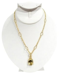 Judith Ripka Judith Ripka 18k Yellow Gold & Faceted Canary Citrine & Diamond Chain Oval Faberge Style Egg Pendant Necklace.
